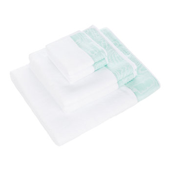 Neo Moire Jacquard Towel - White/Green - Set of 5
