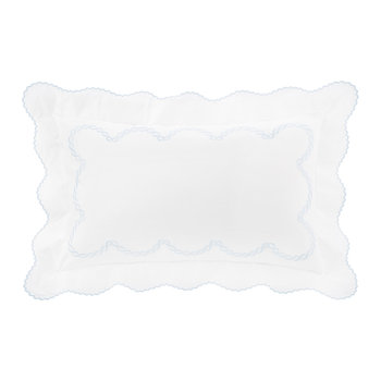 Little Chain Embroidery Pillowcase - Set of 2 - Light Blue