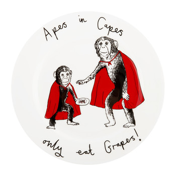 'Apes in Capes Only Eat Grapes' Side Plate