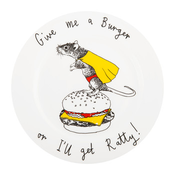 'Give Me a Burger or I'll get Ratty' Side Plate