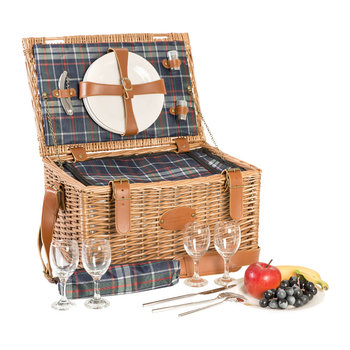 Trianon Scottish Picnic Basket - Blue