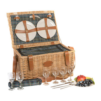 Trianon Scottish Picnic Basket - Green