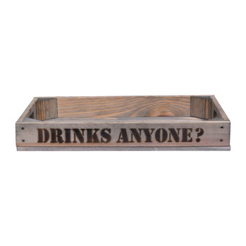 "Wooden Tray - ""Drinks Anyone"""