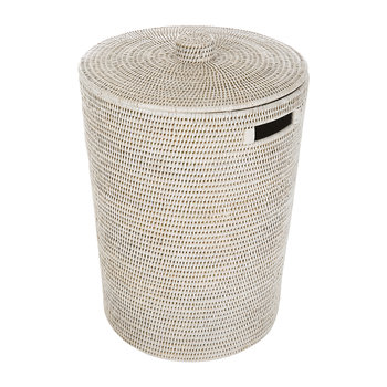 Rattan Laundry Basket - White