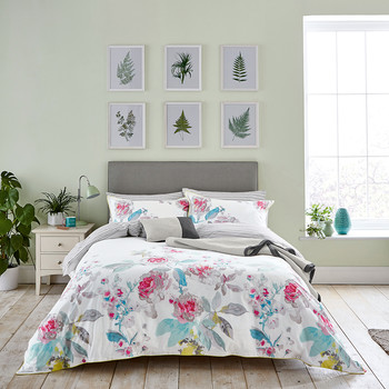 White Beau Bloom Duvet Cover