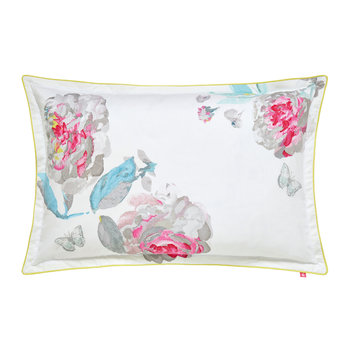 White Beau Bloom Pillowcase - Oxford