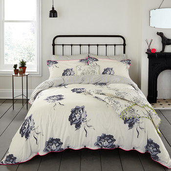 Monochrome Regency Floral Duvet Cover