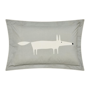 Mr Fox Pillowcase - Silver - Oxford
