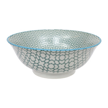 Large Geo Eclectic Bowl - Green
