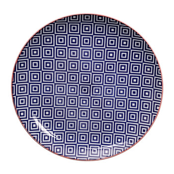 Geo Eclectic Plate - Large - Dark Blue