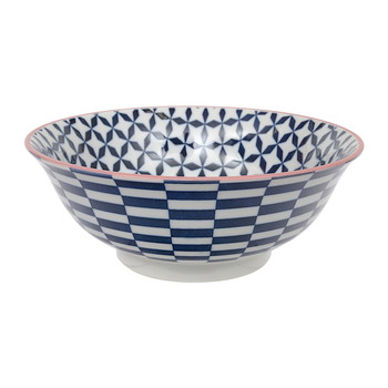 Large Geo Eclectic Bowl - Dark Blue