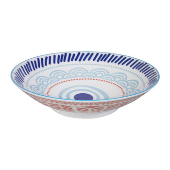 Ethnic Flat Bowl - Light Blue/Red