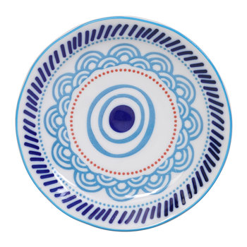 Ethnic Plate - Light Blue/Red