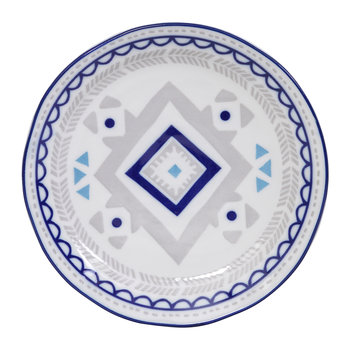 Ethnic Plate - Gray/Blue