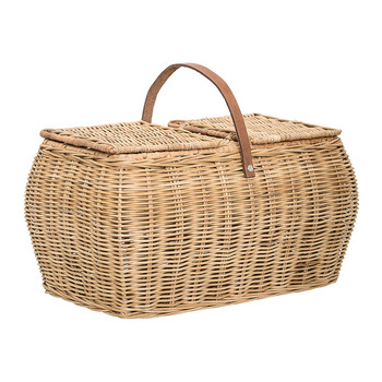 Rattan Picnic Basket with Lid