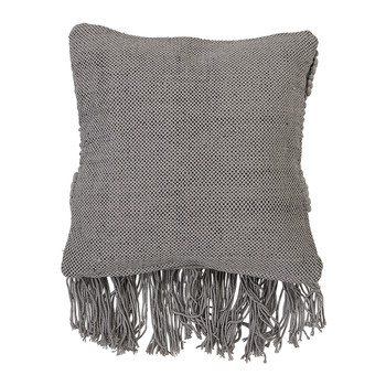 Grey Tassel Cotton Cushion - 50x45cm