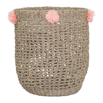 Seagrass Basket with Pom Poms - Rose