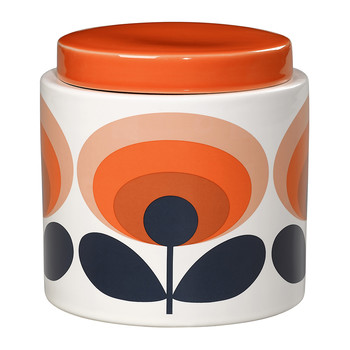 70s Oval Storage Jar - Orange