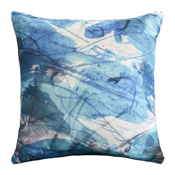 Blue Sedum Detail Linen Cushion - 45x45cm
