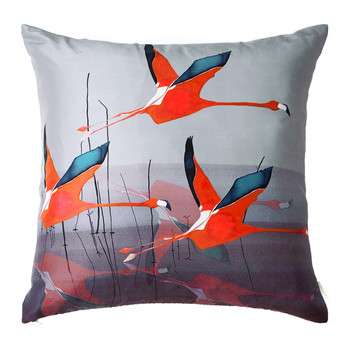 Orange Breaking Dawn Silk Cushion - 45x45cm
