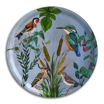Nathalie Lété - Birds in the Dunes Round Tray - Kingfisher