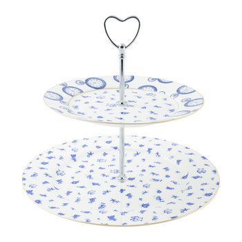 Alice Chintz 2-Tier Cake Stand - White