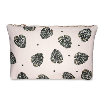 Jungle Leaf Wash/Clutch Bag - Rose