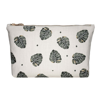 Jungle Leaf Wash/Clutch Bag - Natural