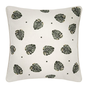 Jungle Leaf Cushion - 45x45cm - Natural