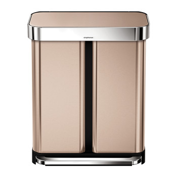 Dual Compartment Pedal Bin with Liner Pocket - 58L - Rose Gold
