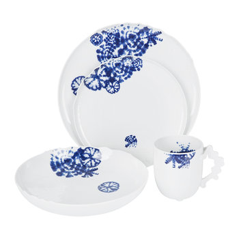 Landscape Dining Set - Set of 8 - Shibori Blue