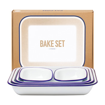 Bake Set - White with Blue Rim