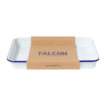 Serving Tray - White with Blue Rim
