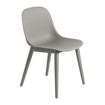 Fiber Side Chair - Wood Base - Grey