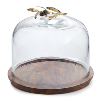 Olive Branch Glass Dome & Base