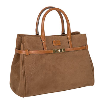 Life Handbag with Front Clasp - Camel