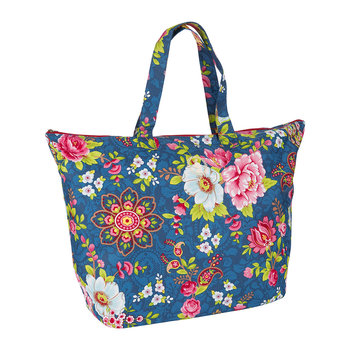 Flowers in the Mix Beach Bag - Navy