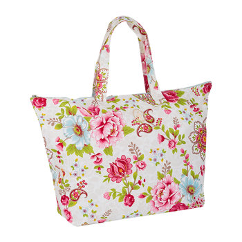 Flowers in the Mix Beach Bag - Khaki