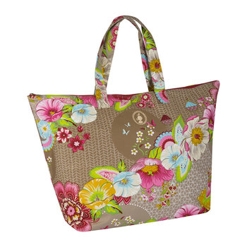 Swinging Flowers Beach Bag - Khaki