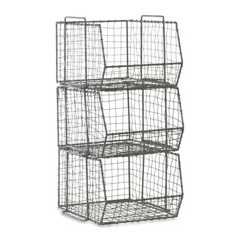Distressed Grey Locker Room Stacking Shelf - Set of 3