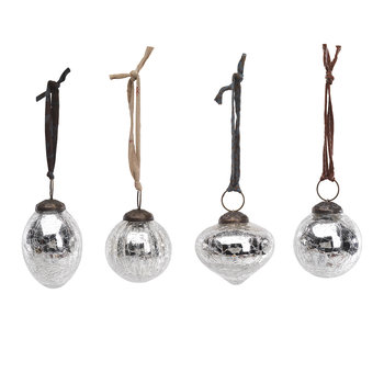 Snow Drop Baubles - Set of 4 - Silver