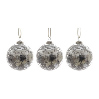 Antique Finish Baubles - Set of 3 - Grey/Silver