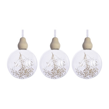 Clear Baubles - Set of 3 - Baby's Breath