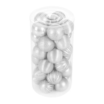 Tube of 30 Assorted Baubles - Silver