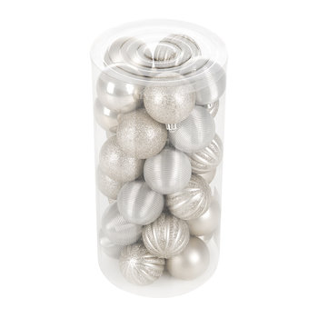 Tube of 30 Assorted Baubles - Natural Linen