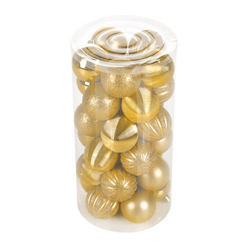 Tube of 30 Assorted Baubles - Light Gold