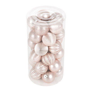 Tube of 30 Assorted Baubles - Blush Pink