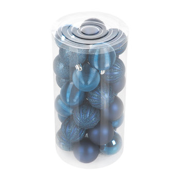 Tube of 30 Assorted Baubles - Midnight Blue