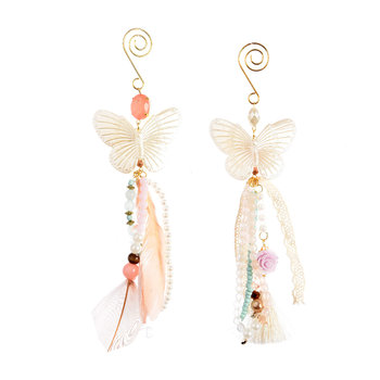 Pearl Butterfly Tree Decoration - Set of 2
