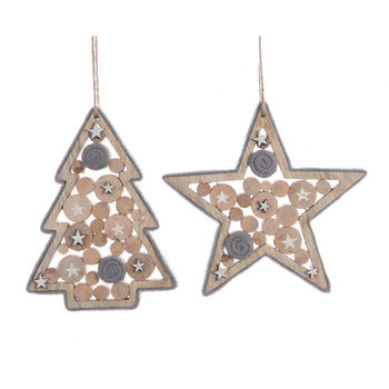 Wooden Star/Tree Decorations - Set of 2